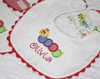 Baby Einstein Caterpillar Bib, Caterpillar Bib, Applique Bib in Red