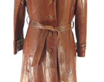 Vintage 70s Leather Trench Coat Womens 8 Belted Brown Overcoat Skin Gear [H30N_3-9_Long]