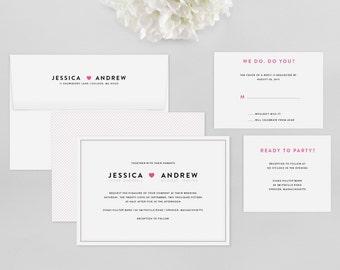 Simple Wedding Invitation - Amory Wedding Invitation Suite - Heart Invitation, Modern - Deposit to Get Started