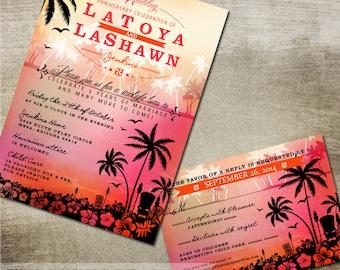 Tropical Tiki Idol Beach Wedding Invitation Suite - rsvp and Invitation - Digital or Printed - Tiki Idol and Hibiscus Flowers
