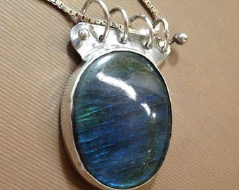 Labradorite and silver necklace Oval Labradorite  necklace