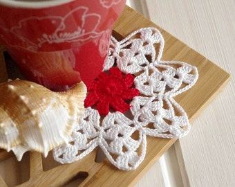 Small crochet doily White and red crochet doilies Crochet flowers Handmade cotton lace doilies Home decorations 121