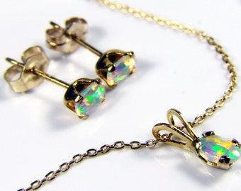 Ethiopian Welo Opals, AAA+ grade fiery Opals, SET or Necklace-Earrings 3x5mmOval Natural Ethiopian Opals, GOLD Fill, Excellent play of color