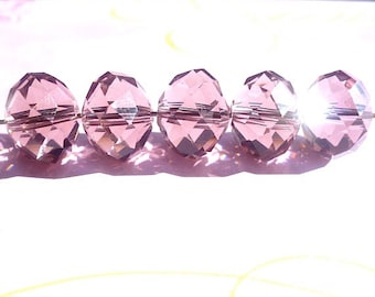 10 pieces 13mm Mauve Faceted Czech Glass Crystals