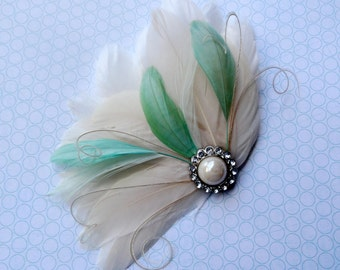 BREE Mint Green and Ivory Feather Fascinator with Crystal and Pearl, Feather Hair Clip, Bridal Hair Piece