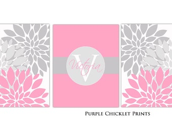 Baby Name Initial Monogram Pink and Gray Wall Art prints Flower Bursts 8X10 CUSTOM SET Nursery Room Decor Bedroom Family Name Art 157abc