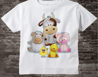 Kids Farm Animal Shirt or Onesie Bodysuit   A cute group of farm animals including a cow, sheep, pig, duck and chicken  02172017e