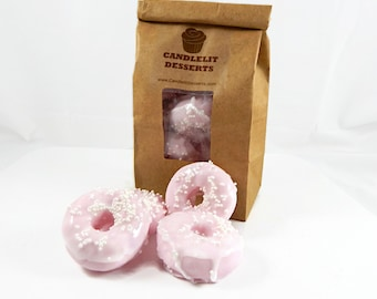 Mini Pink Sprinkle Doughnut Soaps - Eight Pack in a Bakery Bag