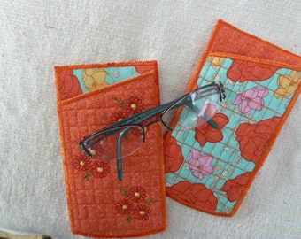 Tangerine Orange Quilted Embroidered Fabric Eyeglass Case