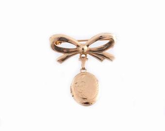 Small Oval Locket Bow Brooch