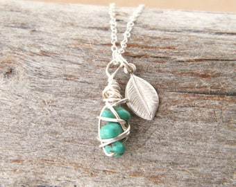 Dainty turquoise necklace - December birthstone - Personalized initial necklace - Gift for Her