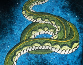 Huge Green Rockabilly Tattoo Style Snake Iron On or Sew On Patch Applique