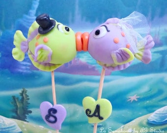 Custom Kissing fish. Wedding cake topper.  Lovely kissing Fishes. Monograms and Initials Free. Uniques. Idea for wedding