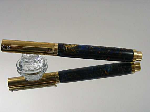 Handcrafted Rollerball Pen, Durable Industrial Style, Brass with Acrylic