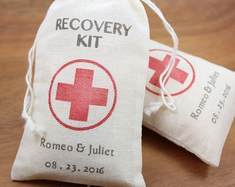 """Personalized Muslin Favor Bags 3.25"""" x 5"""" - Recovery kit - Set of 10 - wedding favors, shower favors, birthday favors"""