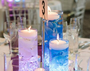 Wedding Centerpiece, Floating Candle Centerpiece, Blue Decor, Purple Decor, LED Centerpiece, Wedding Decor, Bridal Shower Decor, Baby Shower
