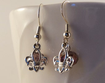 Royal Lily - Fleur De Lis and Purple AB Glass Dangle Earrings and Necklace Set