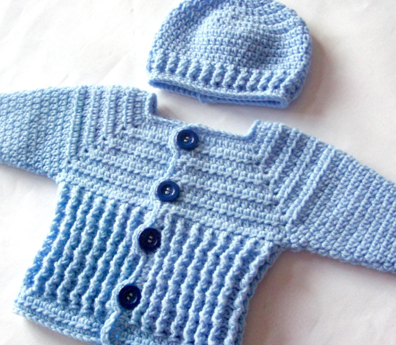 Baby Boy Sweater Set Crochet PATTERN Crochet Baby Sweater and