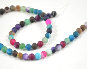 """L Charm Newest Charm multicoloured blue pink green Agate Round 6mm Gemstone Beads One strand 15.5"""""""