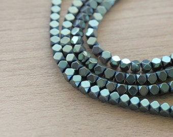50 pcs of Hematite Green Electroplated Geometric Faceted  Beads - Green -  3mm