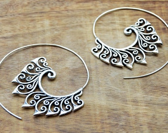 Floral Earrings, Spiral Tribal Earrings, Silver Earrings, Large Hoop Earrings, Gypsy Earrings, Tribal Jewelry, Large Hoops, Indian Earrings