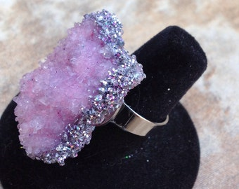 pink with glitter handmade bohemian crystal statement ring