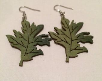Greenleaf wooden earrings