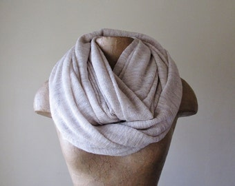 IVORY and WHEAT Infinity Scarf, Chunky Scarf, Oversized Earthy Circle Scarf, Winter Snood