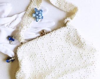 Mid-Century White Beaded Purse by Lumured - 1960s Cordé Bead, Single Beaded Handle - Simple White Handbag, Daytime or Evening