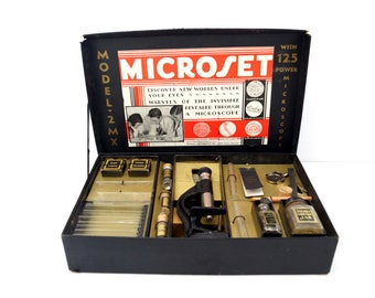 Vintage Microset Microscope Kit No. 2 MX (c.1920s) - Collectible, Home Decor, Photo Prop