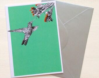 Hummingbird and Flower Greeting Card - Blank