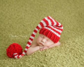 Newborn Santa Hat, Newborn Elf Hat, Newborn Photo Prop, Santa Elf Hat, Newborn Christmas, Cherry Red And White Hat, Newborn Pom Pom Hat