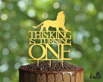This King is Turning One Birthday Cake Topper- Customizable Birthday Cake Topper-Lion Cake Topper-Silhouette Lion Cake Topper, cake topper