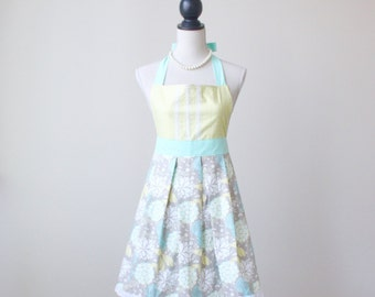 Women's Vintage Inspired - Retro Full Apron - Kitchen Apron - Turquoise and Chartreuse