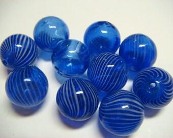 10 Beautiful dark blue blown glass round beads