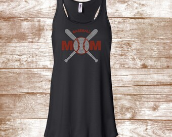 Baseball Mom Bling Shirt - Rhinestone Baseball Mom Shirt- Baseball & Bat - Bling Shirt - Ladies Clothing - Plus Size Available - Team Mom