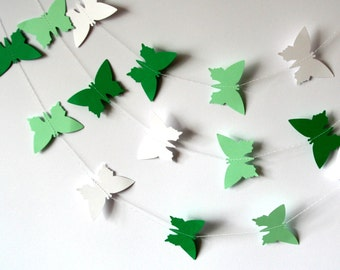 Paper GARLAND - Green paper butterfly garland - White paper summer garland - Party decoration paper garland - cardstock butterflies