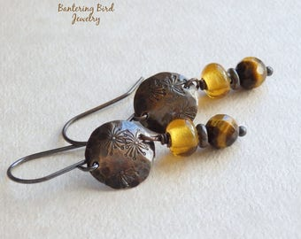 Tiger's Eye Earrings with Hammered Copper, Small Amber Glass Bead Earrings, Golden Brown Stone, Petite Earrings