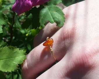 Amber Crystal ring- made to order natural Amber ring, custom amber ring, dainty amber ring, dainty crystal rings, stackable amber ring, raw
