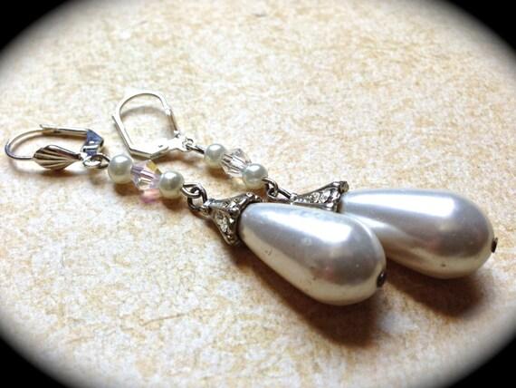 Bridal Earrings , Dangle earrings, Pearl and Wedding  Earrings-Baroque Pearl Drop Earrings-Statement Earrings-Bride to Be