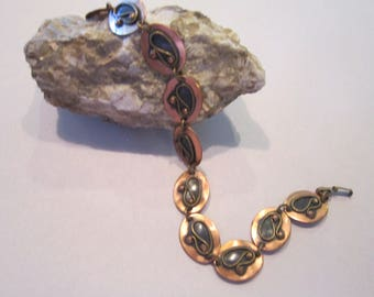 Rare CHENET copper / brass necklace modernistic gorgeous signed