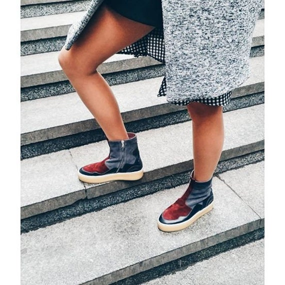 warm trendy shoes Flat Platform Teen suede Red Fall idea shoes TL0022 ankle girl women gray winter gift boots shoes casual ankle gqZn0w1Ox