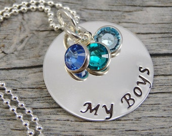 Hand Stamped Jewelry - Personalized Jewelry - Mom Necklace - Sterling Silver Necklace - Three Birthstones - My Boys