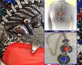 Vintage designer signed Castlecliff native American Indian figures enamel feathers huge bib runway statement necklace 1960s