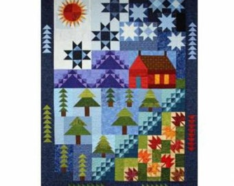 "CABIN By The LAKE - Royal Quilt Designs - pieced mountain lake outdoor pattern 68"" x 92"""