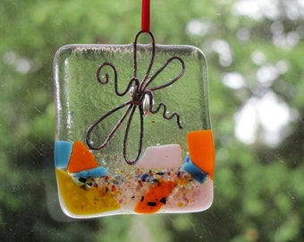 Fused Glass 2 & 1/2 inch Dragonflies:  ornaments or suncatchers