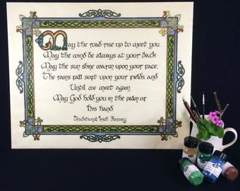 Irish Blessing, Irish Wedding Gift, Celtic Wall Art, Calligraphy Paintings, Celtic Calligraphy, Giclee Print