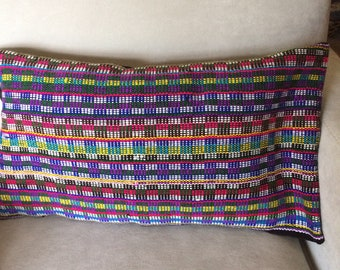 Handwoven Throw Pillow. Striped. Checks. Rainbow of Colors