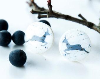 Stud Earrings, Deer Earrings, White Earrings, Woodland Animal, White And Gray Stud Earring, Christmas Earrings