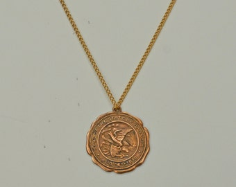 Rare Vintage 14kt GP Illinois Commemorative Medallion Seal of the State of Illinois 14kt GP Copper 18 inches